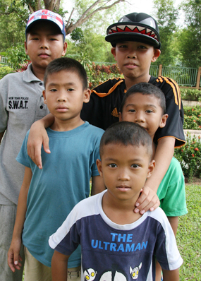 Safe and dry, the young flood victims from Bangkok at the Fr. Ray Children's Home.
