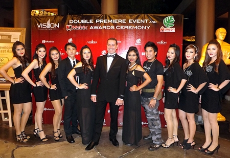 Leading Pattaya developer, Matrix Group, led by its CEO, Miki Haim (center), recently launched The Vision and Amazon Residence projects with a Hollywood-style gala party at the Centara Grand Mirage Resort in Pattaya.