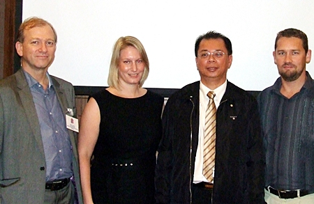 From left: Simon Landy, Executive Chairman of Colliers International (Thailand) and Vice Chairman of the BCCT, Abigail Evans, Executive Transport Planner for Meinhardt (Thailand), Dr. Chula Sukmanop PhD, Inspector General for the Ministry of Transport and Mark Carroll, Executive Director of Austcham, pose for a photo at the conclusion of the meeting held at the Amari Orchid Resort & Tower, Pattaya.