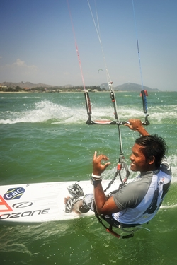 "Thai kiteboarding star, Narapichit ""Yo"" Pudla, two-time Asian champion. (Photo/Duncan Worthington)"