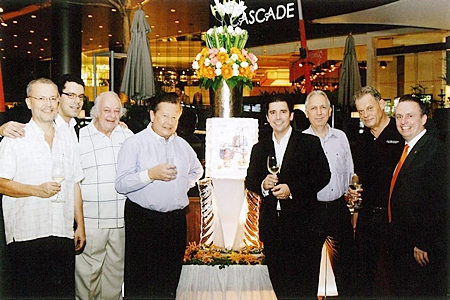 A large number of well known Swiss executives recently attended the 'Guggitaler's Get-Together Party' party hosted by Pierre-Andre Pelletier (right), GM of the Amari Watergate Bangkok. Guests included (l-r) Thomas Andereggen, Simon Rindlisbacher, Ferenc Fricsay, Luzi Matzig, Patrick Schaub, Peter Weingand and Armin Schoch.