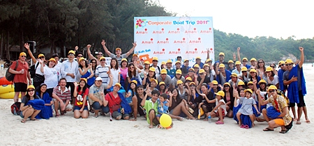 The Yellow team poses for a group photo on Koh Sak.