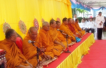 Monks perform religious rites on the auspicious occasion of HM the King's 84th, 7th cycle birthday.