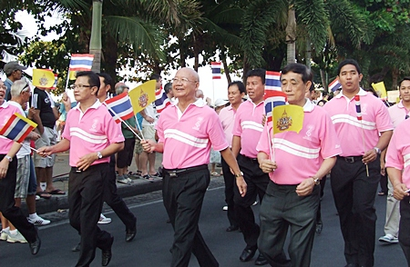 Pattaya city councilors march in the parade.