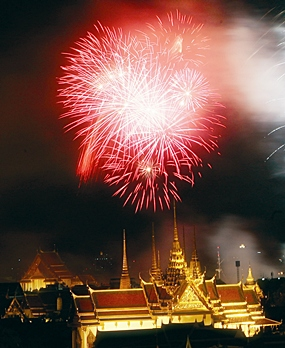 Fireworks light up the night sky near Grand Palace Saturday, June 10, 2006, in Bangkok during a ceremony marking the 60th anniversary of His Majesty the King's accension to the throne.