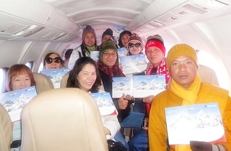 Members of Pattaya's Diana Group take a side trip to fly over Mt. Everest to see it first hand.