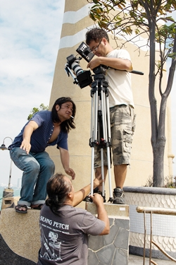 The hard working film crew in action.