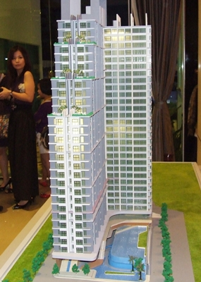 A scale model shows the Porchland 5 La Santir, modern classic condominium.