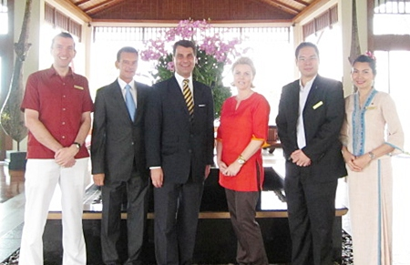 Michael Delargy (left), general manager of the Sheraton Pattaya Resort, welcomed H.E Dr. Johanas Peterlik, Ambassador of Austria to Thailand together with his wife Dr. Ria-Ursula on their visit to the resort recently. On hand to greet the VIP couple were Rudolf Hofer (2nd left), honorary consul of the Austrian Embassy in Pattaya and Prin Pathanatham (2nd right), director of sales and marketing of the hotel.