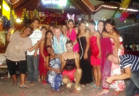 The whole troupe parties in the New Year at Joy's Paradise in Jomtien.