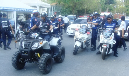 Pattaya's Tourism Police set out to patrol the town to maintain peace and security during the celebrations.