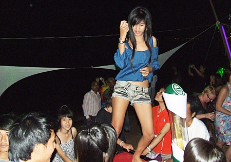 Dancing the night away on Pattaya Beach.