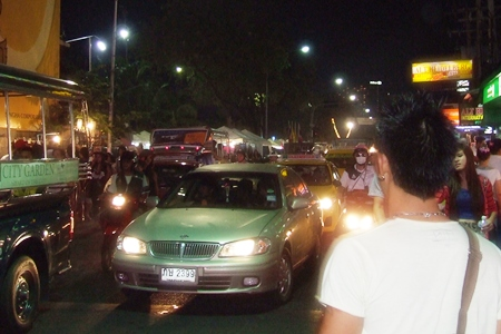 Traffic was at a standstill along Pattaya Beach Road on New Year's Eve.