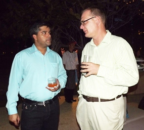 Tony Malhotra and Austin Robinson, GM of the new Nova Hotel & Spa Pattaya get acquainted with each other.