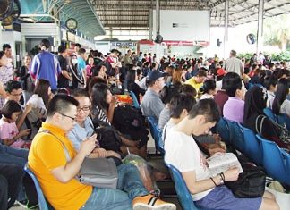 Pattaya bus terminal is jam-packed during the holidays.