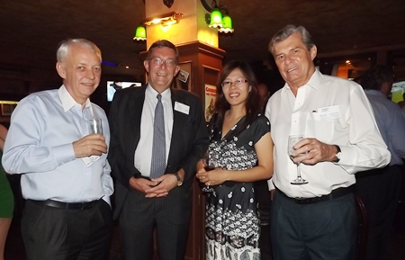 (L to R) John Sim, Regional (West ASEAN KPMG Phoomchai Holding Co., Ltd.); Richard Rome (KPMG Phoomchai Audi Ltd.); Pattra Suttisathiranon, and Maurice D. Bromley, President of the South African-Thai Chamber of Commerce (SATCC).