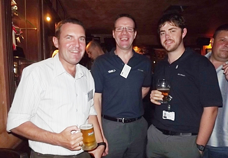 Paul Wilkinson (JVK International Movers Ltd.), networking with the GKN Driveline boys, Roger Wilson and James O'Sullivan.