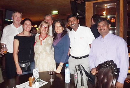 It's good to be back at Jameson's. Michael North (AJT Holding Co. Ltd.), Kylie Grimmer and Bronwyn Little (Women with a Mission), Maurice D. Bromley (SATCC), Renita Bromley (R2M Trading), Ramesh Ramanathan (Visteon (Thailand) Limited) and J. Lakshmi Narayanan (Alva Aluminium Ltd).