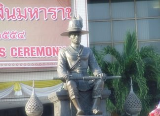The King Taksin the Great monument dominates the front of Pattaya City Hall.