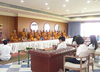 Monks give their blessing to the Ocean Marina Yacht Club and its staff on the occasion of its 17th anniversary.