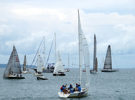 The fleet assembles at the start line for the inaugural Ocean Marina Anniversary Regatta.