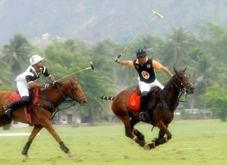 Royal Pahang take on Thai Polo in one of the earlier group matches.