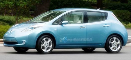 All-electric Nissan Leaf.