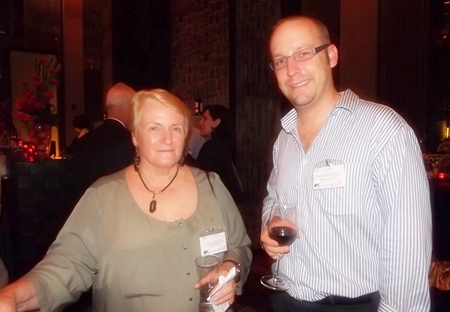 Liela Phillips from Chevron networks with Markus Wehrhahn, general manager of Resource Link Consulting Group.