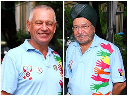Dougie Riach (left) and Narinder Saluja (right) are two of the hardest working Rotarians in the Bangkok South Rotary Club.