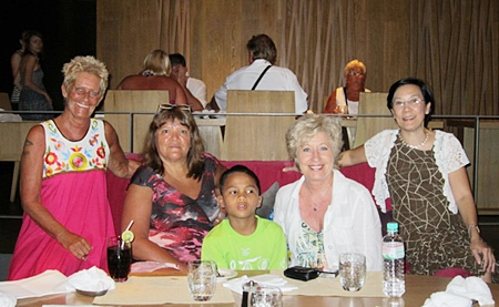 Danish singer Birthe Kjær (2nd right), along with Toy (right), Nathawuth and friends, enjoy a dinner out on the town.