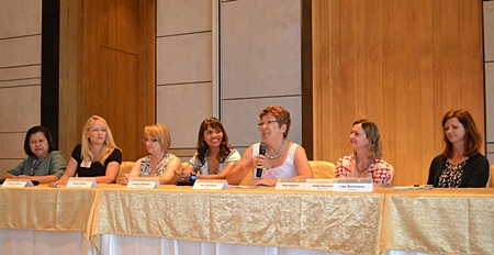 The Pattaya International Ladies Club's newly elected committee (L to R) Alvi Sinthuvanik, hospitality chair; Christine Ross, chair of membership; Suzie Zofkie, secretary; Ananya Welland, special events chair; Ann Winfield, president and newsletter chair; Helle Rantsen, vice president and welfare chair; and Lisa Bachman, treasurer.