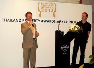 Clayton Wade of Premier Homes Real Estate (left) and Terry Blackburn, the CEO of Ensign Media (right), launch the Thailand Property Awards 2012 at the Hard Rock Hotel Pattaya, Friday, Feb. 10.