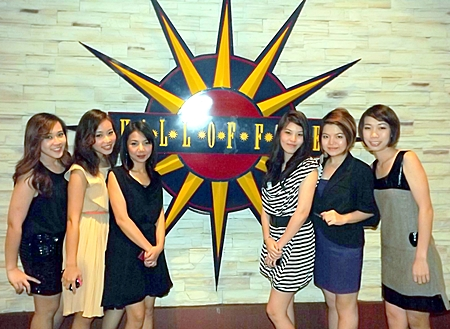 Ensign Media ladies Chanida, Jutatip, Katsanee, Piyanun, Apaporn and Anchulee attend the Awards launch party at the Hard Rock's Hall of Fame.