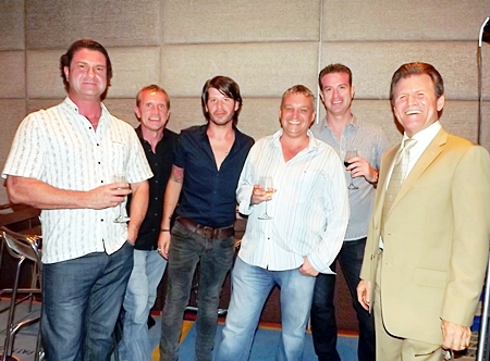 Clayton Wade (right) is joined by Anthony Thomas of Bravothai Lifestyle Co., Marcus of MD Furniture, Torrence Collias and Deano Coppinger of The Vineyard, and Mr. Cuipsuop, at the Thailand Property Awards 2012 launch party.