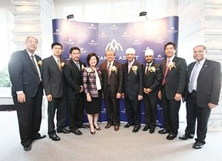 The Executive Board of Grande Asset Hotels and Property pose for a group photo. From left:- Praveen Benjasmithyodhon (Director), Asawin Rakmanusa (Executive Director), Vitavas Vibhagool (Vice Chairman), Phornsiri Manoharn (Independent Director), Wichai Thongtang (Chairman), Suradej Narula (Executive Director), Amarin Narula (Executive Director), Amarit Pansiri (Independent Director), Dr. Noppadol Mingchinda (Chief Executive Officer).