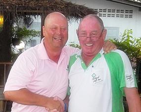Capt' Bob (right) congratulates Paul Kaye after his win at Phoenix.