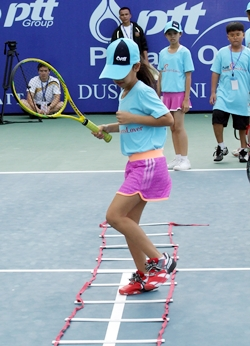 The young tennis stars are put through their paces.