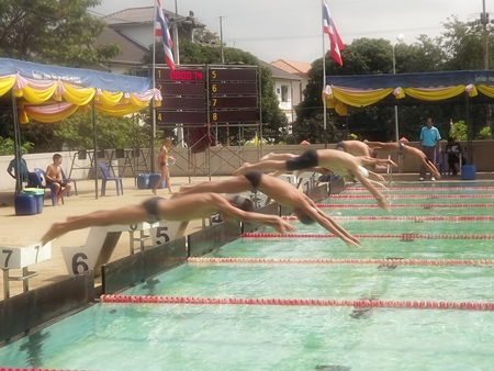 Young swimmers leap off the blocks at the start of a race.