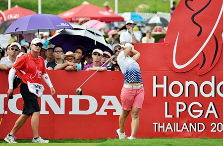 Ai Miyazato tees off on the 10th hole during the final round.