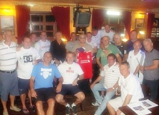 The two teams gather at Jameson's for the after-match celebrations and the auctioning of a football shirt signed by ex-Liverpool legend Ian Rush.
