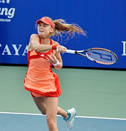 Daniela Hantuchova smashes a forehand winner during the second set of the final.