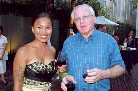 Bee Bauiai and Dermot Latham test the wine together.