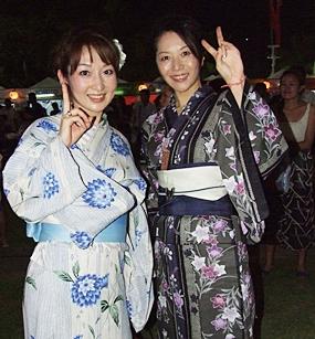 Lovely women dress in traditional Japanese kimonos.