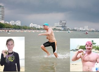 Nic Wilson (main photo) races home under stormy skies, wining the 3.5 km swim across Pattaya Bay. 10-year-old Erika Heltne (left) won the short fun swim, whilst Aleksei Balykov (right) won the 1.3 km intermediate swim. The true winners, however, are the children as proceeds from the event will go to ensure clean water, education and a chance for a better future for those less fortunate in our community.