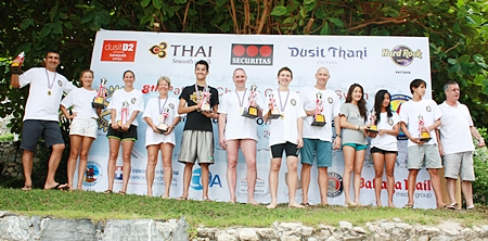 Proudly holding their trophies are (l-r) Mark Lunev, Natalia Lunev, Hannah Way, Kristina Solheim, Liam Samuels, Aleksei Balykov, Adounis Cedolin, Nic Wilson, Alena Vigada, Nook Buranasiri and Luc Gebbie, with Ken Whitty (far right) our generous sponsor 'Paulaner'.