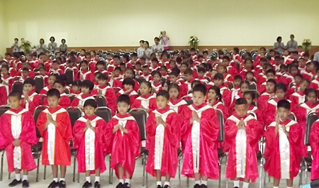 Hundreds of kindergarten students earn their first diplomas at the Aksorn Group of schools.