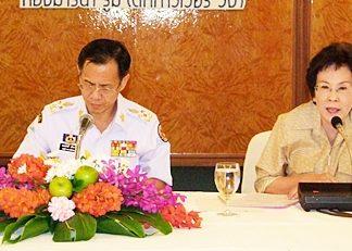 Officials prepare for the arrival of HRH Princess Ubolratana Rajakanya.