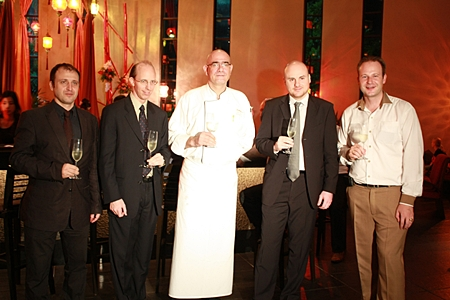 (L to R) Salvatore Campinone, Horeca key account executive manager IWS; Michel Conrad, commercial wine director - IWS; Chef Kai Uwe Klenz; Giovani Oliva, Asia sales and marketing director for Grandi Vini D' Italia; and Max Sieracki, resident manager of the Amari Orchid Pattaya.