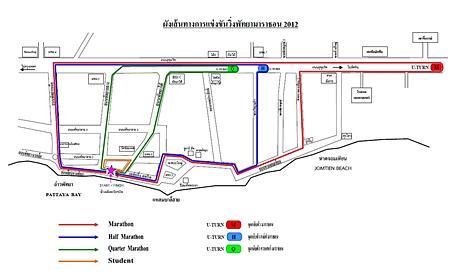 This map released by City Hall shows the outline of the Pattaya Marathon routes for 2012.