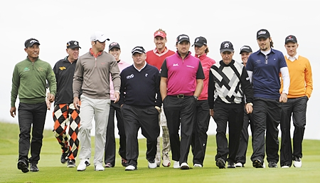 International golfing superstars led by Gary Player take part in PowerPlay Golf at Celtic Manor, Wales in May 2011.
